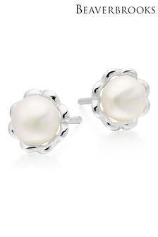 Beaverbrooks Children's Mini B Silver Freshwater Cultured Pearl Flower Earrings