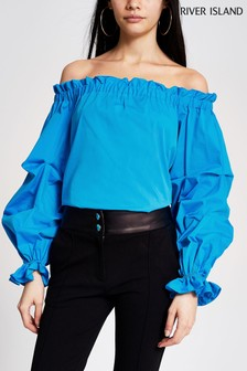 River Island Blue Ruched Bardot Top