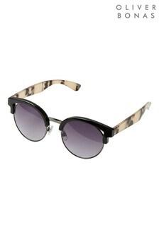 Oliver Bonas Black Tortoiseshell Arms & Black Round Kitten Insert Sunglasses