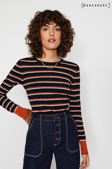 Warehouse Blue Breton Colour Stripe Jumper