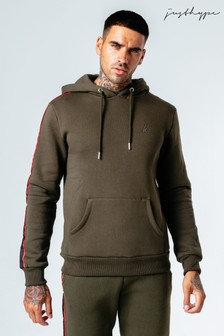 Hype. Mens Khaki Sports Tape Pullover Hoody