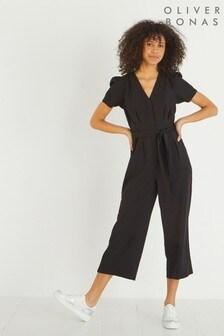 Oliver Bonas Black Puff Sleeve Tie Waist Jumpsuit