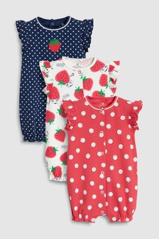 Strawberry Print Rompers Three Pack (0mths-2yrs)