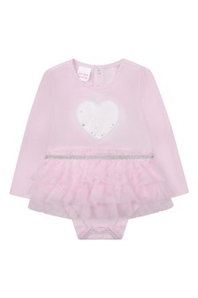 Baby Girls Pink Cotton & Tulle Dress Bodysuit