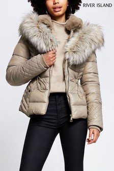 River Island Beige Drawcord Fitted Padded Jacket