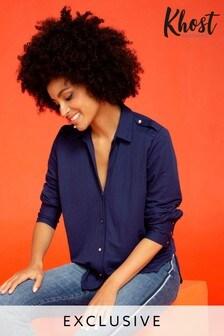 Khost Blue Woven Look Shirt