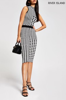 River Island Black Dogtooth Pencil Skirt