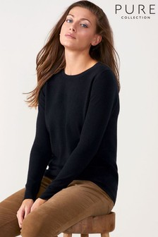 Pure Collection Black Cashmere Straight Fit Crew Neck Sweater