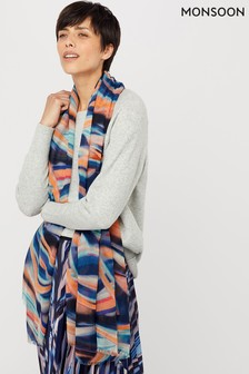 Monsoon Blue Mable Marble Print Recycled Poly Scarf