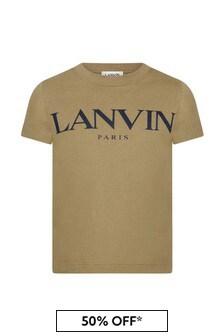 Lanvin Boys Khaki Cotton T-Shirt