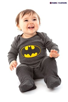 Fabric Flavours Grey Batman All-In-One Babygrow