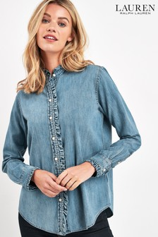 Lauren Ralph Lauren Pale Blue Denim Ruffle Shirt
