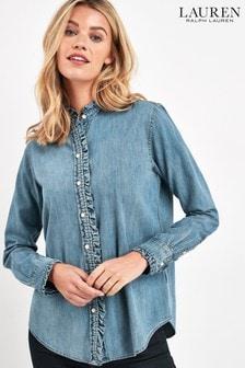 Lauren Ralph Lauren Pale Blue Denim Ruffle Shirt