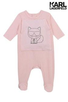 Karl Lagerfeld Light Pink Logo Sleepsuit