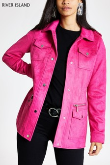 River Island Hot Pink Suedette Army Jacket