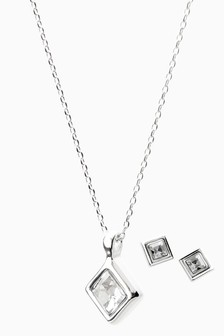 Square Necklace And Earrings Set With Swarovski® Crystals
