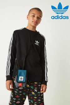 adidas Originals Black 3 Stripe Long Sleeve T-Shirt