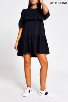River Island Navy Broidery Frill Sweat Dress