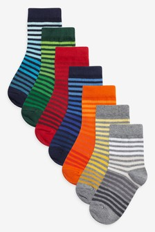 7 Pack Cotton Rich Stripe Socks (Younger)