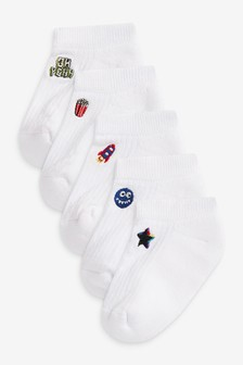 5 Pack Ribbed Cushioned Cotton Rich Trainer Socks