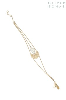 Oliver Bonas Gold Plated Bodee Textured Disc & Pearl Bracelet