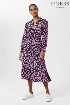 Hobbs Blue Lulu Floral Midi Dress