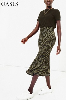 Oasis Green Tiger Bias Cut Slip Skirt