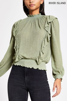 River Island Sage Green Pointelle Frill Shirred Top