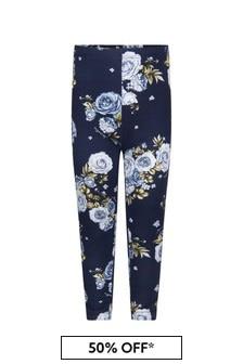 Girls Navy Cotton Jersey Rose Leggings