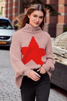 Pullover mit Trichterkragen und Nahtdetail
