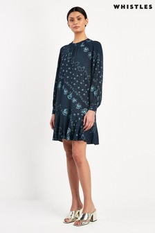 Whistles Blue Diagonal Floral Printed Dress