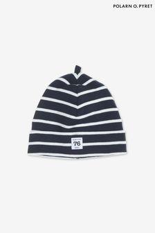 Polarn O. Pyret Blue GOTS Organic Striped Hat