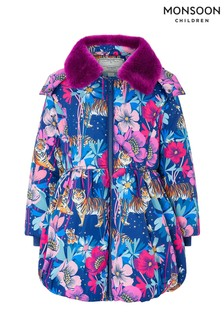 Monsoon Children Blue Tamara Tiger Padded Coat