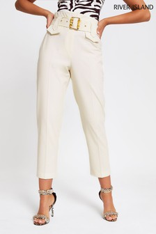 River Island Cream Misha Buckle Utility Trouser