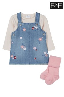 F&F Denim Embroidered Pinafore