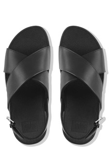 FitFlop™ Black Leather Lulu™ Cross Back Strap Sandal