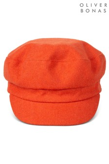 Oliver Bonas Felt Orange Baker Boy Hat