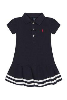 Ralph Lauren Kids Baby Girls Navy Cotton Dress