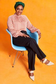 Shirred Neck Long Sleeve Top