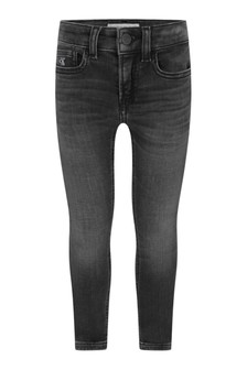 Calvin Klein Jeans Boys Black Cotton Skinny Stretch Jeans