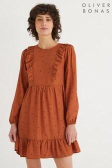 Oliver Bonas Tan Spot Print Ruffle Mini Dress