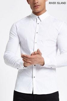 River Island White Shirt Muscle Seven Poplin Shirt