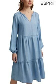 Esprit Blue Denim TENCEL™ Flounces Dress