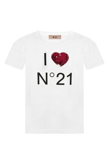 N°21 Girls White Cotton T-Shirt