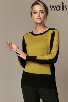 Wallis Petite Lime Colourblock Top