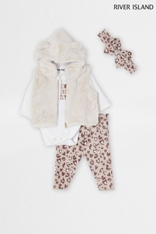 River Island Beige Leopard Velour Babygrow Outfit