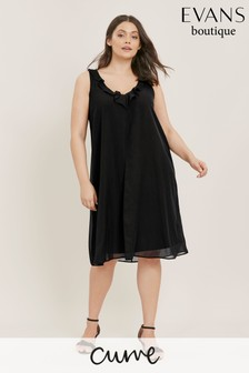 Evans Curve Black Frill Neck Split Front Dress