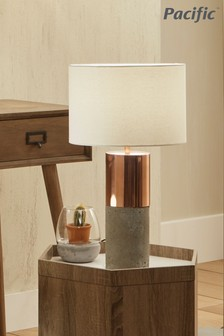 Eivissa Copper Metal & Concrete Table Lamp by Pacific