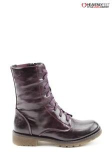 Heavenly Feet Purple Chloe Purple Lace Mid Calf Boots