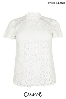 River Island Plus White Broderie Frill Top